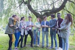 Studenti felici che legano insieme Fotografia Stock