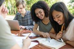 Studenti felici che si siedono e che studiano all'aperto mentre parlando Fotografia Stock