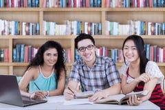 Studenti felici che studiano nella biblioteca Immagine Stock Libera da Diritti