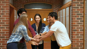 Studenti felici che un le loro mani archivi video