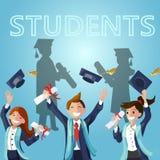 Studenti felici del fumetto dell'illustrazione di concetto di vettore illustrazione di stock