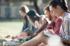 Studenti multiculturali che studiano nel parco Fotografie Stock Libere da Diritti
