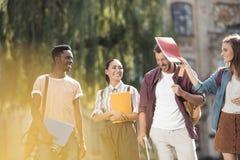 Studenti multiculturali divertendosi insieme Immagine Stock Libera da Diritti