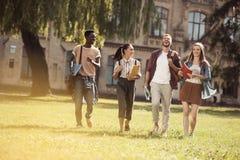 Studenti multiculturali in parco Fotografia Stock