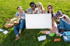 Studenti multietnici che tengono insegna in bianco mentre sedendosi sull'erba verde Immagine Stock Libera da Diritti