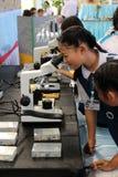 Studenti primari femminili che guardano tramite un microscopio Fotografie Stock Libere da Diritti
