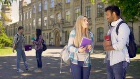 Studenti razza mista allegri attivamente che comunicano a vicenda, amicizia archivi video