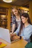 Studenti seri che per mezzo del computer portatile Fotografia Stock Libera da Diritti