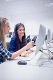 Studenti sorridenti che lavorano al computer Immagini Stock