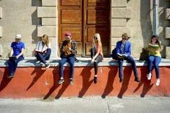 Studenti sulla città universitaria Fotografia Stock
