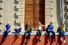 Studenti sulla città universitaria Immagini Stock