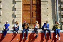 Studenti sulla città universitaria Fotografie Stock Libere da Diritti