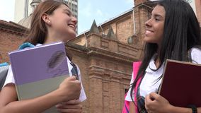 Studenti teenager femminili con i manuali Immagine Stock