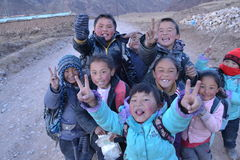 Studenti tibetani Immagine Stock