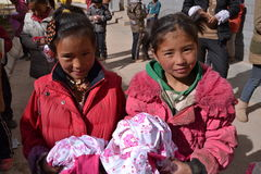 Studenti tibetani a scuola nella provincia di Qinghai, Cina Immagini Stock Libere da Diritti