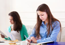Studentinnen, die zusammen zu Hause studieren Lizenzfreie Stockfotografie