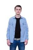 Studentman i tillfälliga jeanskläder arkivfoto