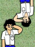 studentsömn för två pojke på en grästecknad film vektor illustrationer