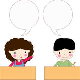 Students. Illustration of two school kids Stock Photos