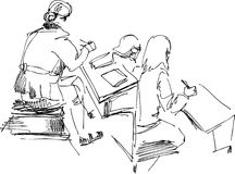 Students. In a class-room Stock Illustration