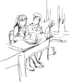 Students. In a class-room vector illustration