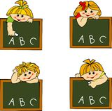 Students. Schoolgirls and schoolboys in school vector illustration