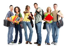 Students. Large group of smiling  students. Isolated over white background Royalty Free Stock Photography