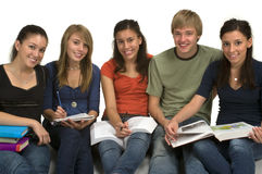 Students. Diverse group of students studying (Caucasian, Hispanic, Middle Eastern Stock Photography