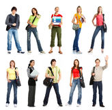Students. Big group of the young smiling  students. Over white background Stock Images