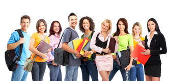 Students. Large group of smiling  students. Over white background