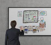 Students in academy. Businessman drawing students in academy on desk royalty free stock images