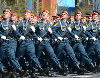 Students of the Academy of civil defence EMERCOM of Russia for the dress rehearsal of parade on red square in honor of Victory Day Stock Image