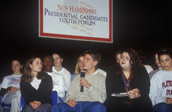 Students address speakers at the New Hampshire Presidential Candidates Youth Forum, January 2000 Stock Image