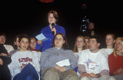 Students address speakers at the New Hampshire Presidential Candidates Youth Forum, January 2000 Stock Photos