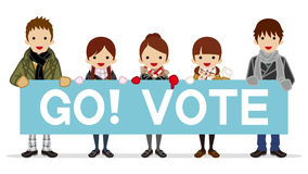 Students appeal Voting with Placard - winter Stock Photos