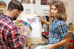 Students in art school Royalty Free Stock Photos