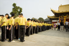 Students attended ceremony at  Confucius temple Stock Photo