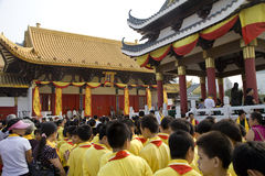 Students attended ceremony at  Confucius temple Royalty Free Stock Image