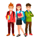 Students with backpacks and books. Royalty Free Stock Photo