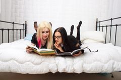 Students in the bed Royalty Free Stock Photography