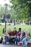 Students on a Bench Stock Images