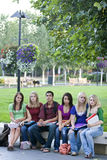Students on a Bench Royalty Free Stock Images