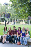 Students on a Bench Stock Image