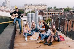 Students birthday party on roof. Leisure time Stock Photos
