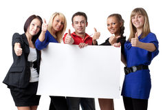 Students with blank sign Stock Images