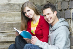 Students with book Stock Photos