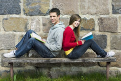 Students with book Stock Photography