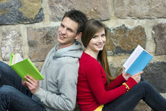 Students with book Royalty Free Stock Photo