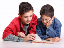 Students and book. Two young people with books on white background Royalty Free Stock Photography