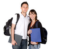 Students with books and bags Royalty Free Stock Images